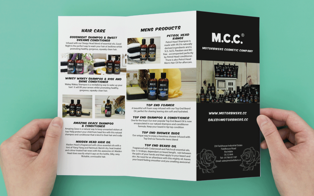 m.c.c mcc motorbikers' cosmetics company graphic design branding label labels case study revolution for marketing services